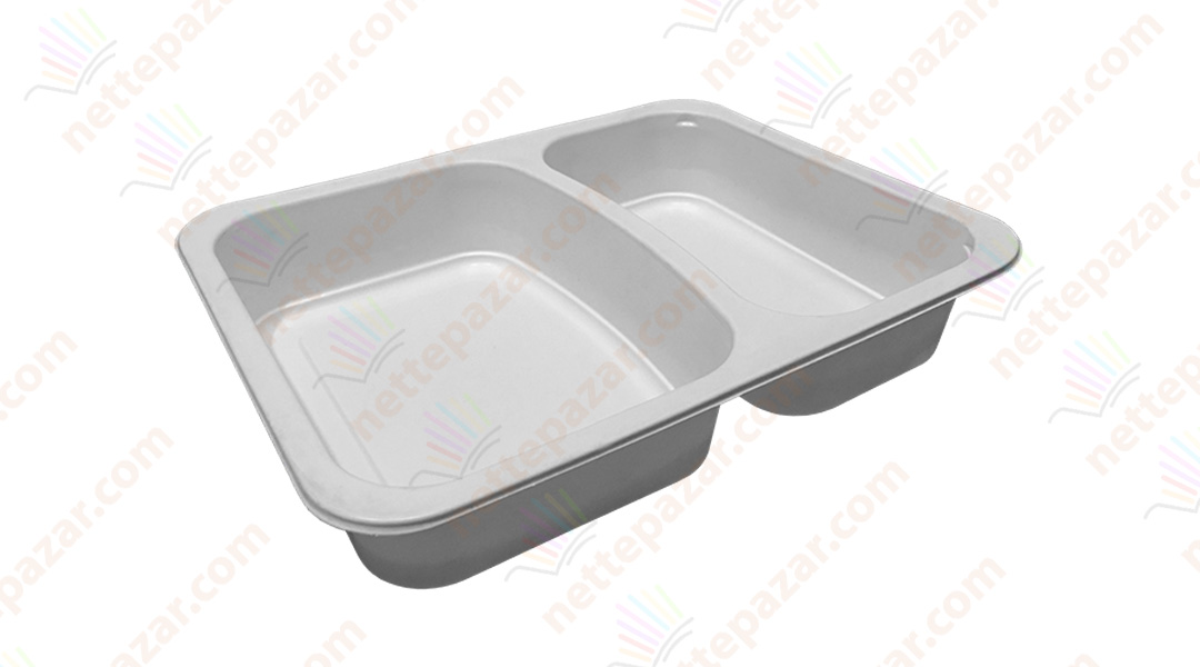Meal Tray for Tray Sealers 2 Compartment White 227x178 mm. H:37