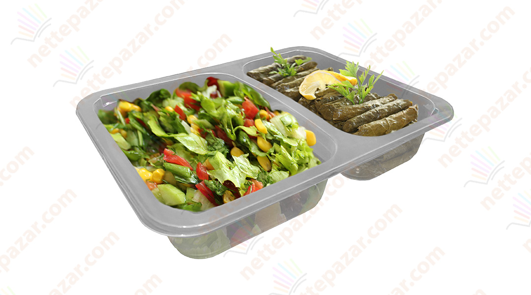 Meal Tray for Tray Sealers 2 Compartment Transparent 227x178 mm. H:37