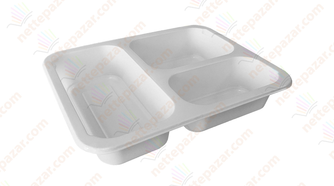Meal Tray for Tray Sealers 3 Compartment White 227x178 mm. H:42