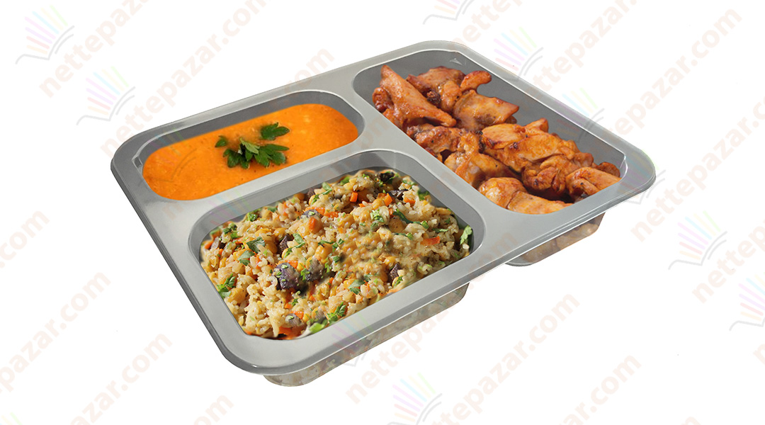 Meal Tray for Tray Sealers 3 Compartment Transparent 227x178 mm. H:42