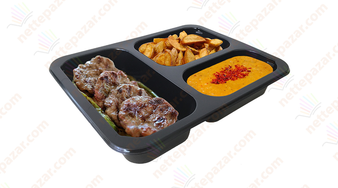 Meal Tray for Tray Sealers 3 Compartment Black 227x178 mm. H:42