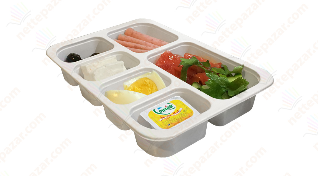 Meal Tray for Tray Sealers 6 Compartment White 227x178 mm. H:37