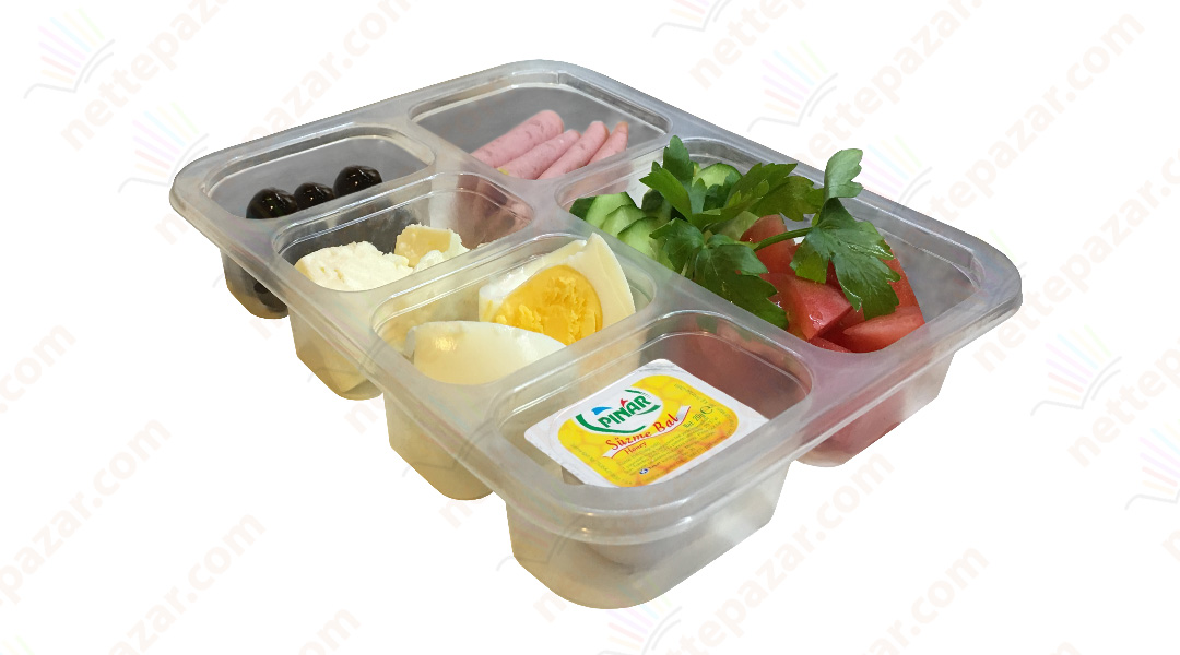 Meal Tray for Tray Sealers 6 Compartment Transparent 227x178 mm. H:37