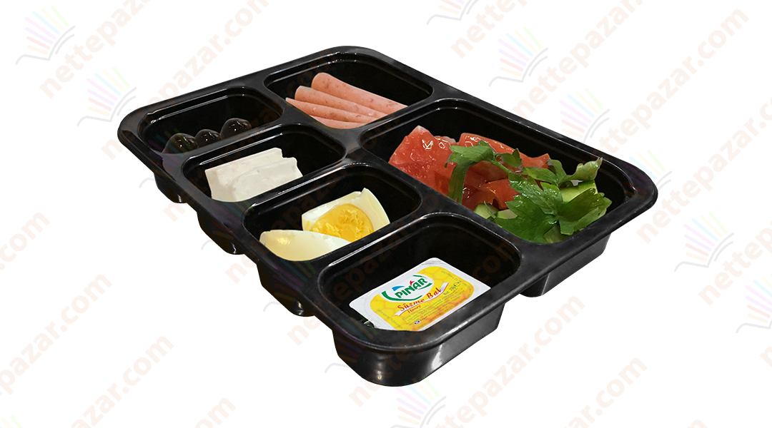 Meal Tray for Tray Sealers 6 Compartment Black 227x178 mm. H:37